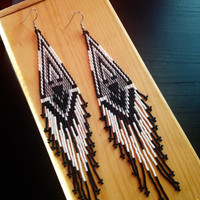 Ptarmigan Feathers - Comanche Hand Brick Stitch Earrings - Long - Dangle - Black and White - Feathers - Beaded