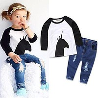 Baby Boy Patchwork T-shirt Fashion Infant Animal Clothes Baby Girl Autumn Denim Jeans Pants Toddler Cartoon Print Outfits