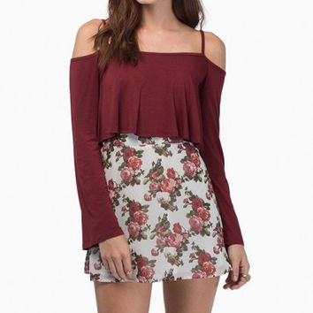 Wine Red Long Sleeve Spaghetti Strap Off- Shoulder Crop Top