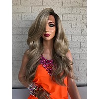 Blonde Balayage Hair with Brown Ombré Roots 419 6
