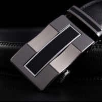 Black Leather Belt with Elegant Wavy Buckle