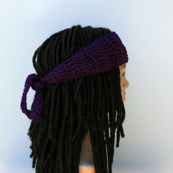 Dark orchid purple dread headband dreadband head hair band wrap scarf hippie bandana headband, woman head band