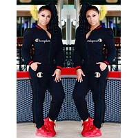 inseva Champion Trending Women Casual Embroidery Long Sleeve Set Two-Piece Sportswear