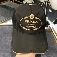 Prada New fashion embroidery letter sun protection cap hat Black