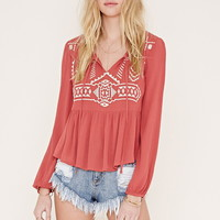 Embroidered Crinkled Crepe Top | Forever 21 - 2000186046