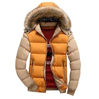Winter Jacket Men 2017 Cotton Padded Warm Thicken Short Jacket Coat Clothing Stand Collar Male Solid Parkas Coat