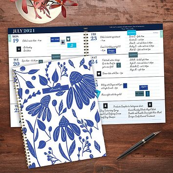 July 2021-June 2022 Delicate Flowers Large Daily Weekly Monthly Planner + Coordinating Planning Stickers