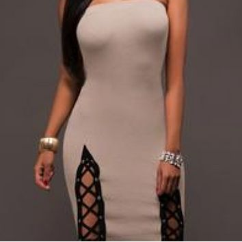 Hot sale fashion sexy slim bag hip tube top dress