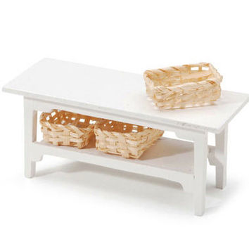 Miniature White Side Tables Furniture Pieces for dollhouses and shadowboxes SUPPLY