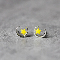 Moon Star Earrings, Sterling Silver Star Stud Earrings, Geometric Earrings, Moon Earrings, Star Studs, Moon Star Jewelry, gift for her