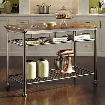 Classic French Style Hardwood Butcher Block Top Metal Kitchen Table