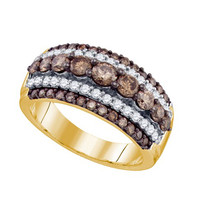 Cognac Diamond Fashion Ring in 10k Gold 1.59 ctw