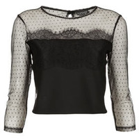Lace Dobby Mesh Crop Top