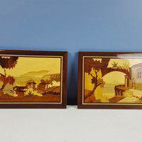 Vintage PAIR Italian Inlaid Wood Italy Landscapes Seascape Wall Hanging Notturno Intarsio Sorrento Italy Marquetry Small Matching Pair Coast