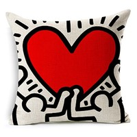 """Heartybay® Home Decorative Keith Haring's Graffiti-art Pattern Cotton Linen Throw Pillow Cover Cushion Case 18""""X18""""(G)"""
