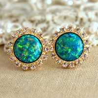 Emerald Green Opal stud earrings with white rhinestones, bridesmaids jewelry,wedding earrings, studs - 14k gold plated swarovski earrings