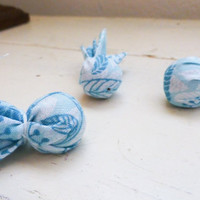 Large wooden beads, Fabric covered beads, blue wooden beads, fabric beads, jewelry making, wooden craft beads, ready to ship