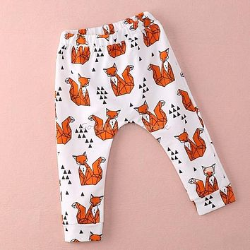 New Fashion Cute Fox Bat Baby Harem Pants Cartoon Kids Boys Girls Printed Loose Harem Pants Trousers Leggings 12M~3Y