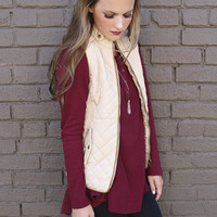 Longwood Gardens Beige Quilted Vest Puffer With Pockets