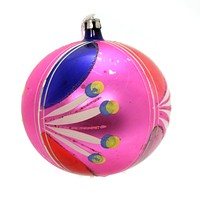 Holiday Ornaments PINK BALL ORNAMENT Glass Christmas Vintage Ta9053 Pink