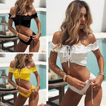 Ella Off Shoulder Bandeau Bikini Set 3 Colors