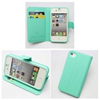 PIAOPIAO fashion PU leather wallet credit card flip stand Case cover for Iphone 4 4g 4s (mint green)