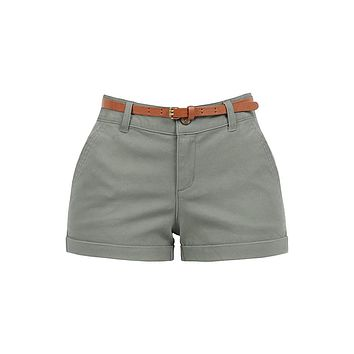 Stretchy Brushed Twill Low Rise Cuffed Belted Shorts with Pockets (CLEARANCE)