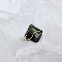 Black and silver ring, black stone and silver plated wire wrapped Statement ring, Free Shipping