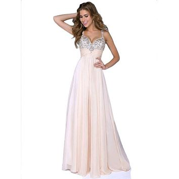 Feitong Women Sexy Spaghetti Strap Sequined Prom Ball Evening Party Formal Gown Long Maxi Dress vestido de festa