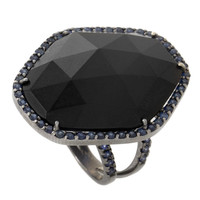 Shawn Warren Rhodium Onyx Sapphire White Gold Cocktail Ring