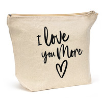 Canvas Zipper Makeup Bag - I Love You More