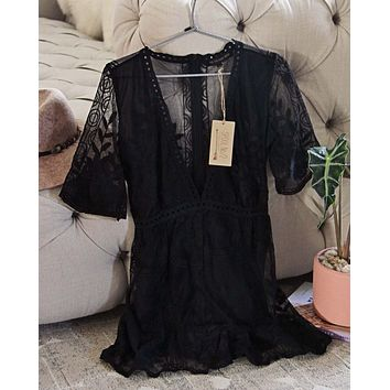 Tainted Rose Lace Romper in Black