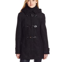 Calvin Klein Women's Boucle Wool Coat with Toggles