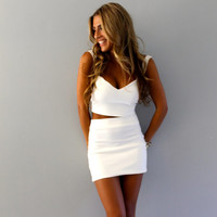 Two piece sweetheart crop top and skirt set, two piece set, crop top set, white dress, crop top and skirt.