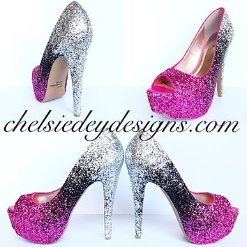 Glitter Peep Toe Pumps, Hot Pink Black Silver Ombre Wedding High Heels
