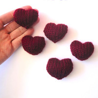 Valentine's Day Sweet Hearts, Handful of Hearts, Knit Hearts, Set of 5 Hearts, Plushie Plush Hearts