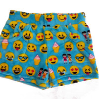 Candy Pink Super Soft Fleece Shorts Turquoise Emoji