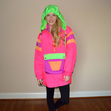 Vintage Neon Windbreaker Jacket Retro Bright and Colorful Puffy Insulated Coat Outerwear Highlighter Colors Size Medium Nylon Snow Jacket