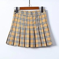 Classic Campus Style Women Plaid Print Pleated Skirt
