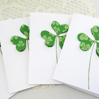 Shamrock Note Cards - Set of 4 Shamrock Cards - Blank Note Cards - Note Card Set - Shamrock Cards - St. Patricks Day - 3-Dimensional
