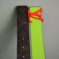 Louis Vuitton LV Fashion Couple Style Letter Buckle Head Seven Deadly Sins Printed Belt Green