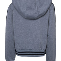 Grey Plunge Lace Up Front Stripe Trims Hoodie
