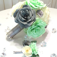 Mint green, grey and ivory handmade paper Rose bouquet and matching boutonniere, Can be made in colors of your choice, Keepsake toss bouquet