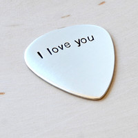 Sterling silver simple I love you guitar pick