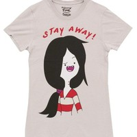Adventure Time Marceline Stay Away Juniors Silver T-Shirt (Juniors XX-Large)