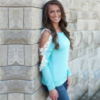 Green Lace Cut-Out Sleeve Sweatshirt