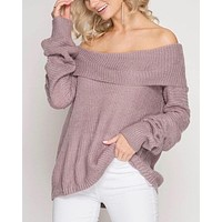 Long Sleeve Off the Shoulder Sweater in Dusty Mauve