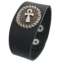 Ankh Circle Patch Leather Wristband