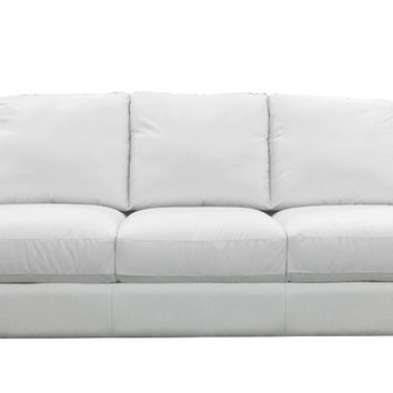 Liro Queen Leather Sleeper Sofa by Natuzzi Editions in Le Mans White