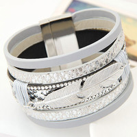 2016 Fashion Alloy Feather Leaves Wide Magnetic Leather Bracelets & Bangles Multilayer Wrap Bracelets Jewelry for Women Men Gift